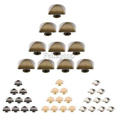 10 Sets Screwback Spikes Square Pyramid Studs Punk Rock for DIY Leathercraft