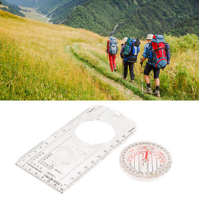 Mini Portable Map Scale Compass Camping Hiking Survival Compass Emergency BI798