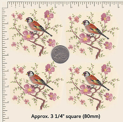 """4 x Waterslide ceramic decals Decoupage Birds and Blossoms 3 1/4"""" sq. PD13"""