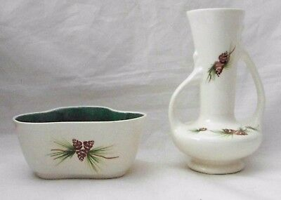 Rocky Mountain Pottery Three sided Pine Cone Planter & Two Handled Vase