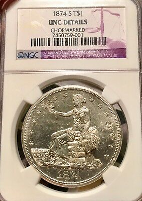 1874-S Chopmarked NGC UNC. Details Trade Silver Dollar