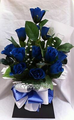 Artificial Silk Flowers Dozen Roses Gift Bouquet Box Nationwide Delivery