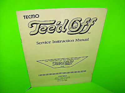Tecmo TEE'd OFF Original Vintage Video Arcade Game Service Instruction Manual