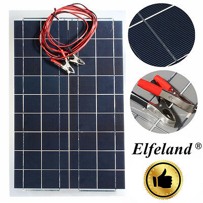 Elfeland 30W 12V Semi Flexible Solar Panel Battery Charger + Cable For RV Boat y