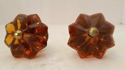 "Pair Vintage AMBER ""Flower"" ""Star"" GLASS Drawer KNOBS PULLS Brass"