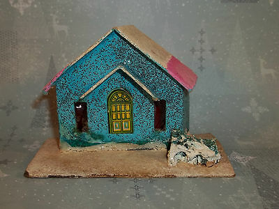 Vintage Christmas PAPER PUTZ HOUSE Turquoise & Pink Made in BLUME JAPAN C610