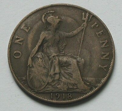 1918 UK (British) George V Coin - One Penny (1d) -