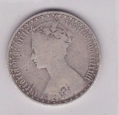 1873 Die Number 40 Victorian Silver Florin In A Well Used Condition