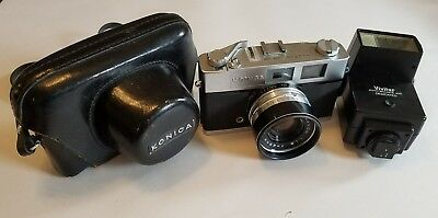 Konica Auto S2 35mm Rangefinder Camera w/ Case and Flash • CLEAN & TESTED