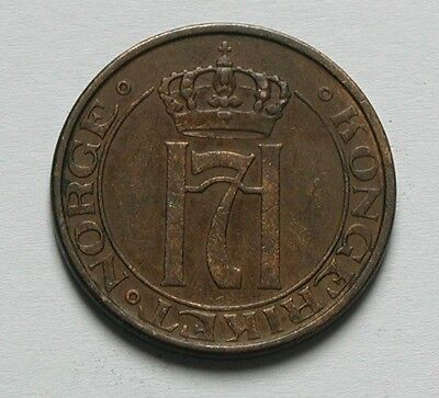 1931 NORWAY Haakon VII Coin - 5 Ore - toned brown