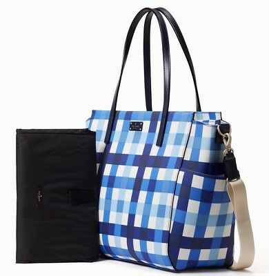 NWT $329 AUTHENTIC Kate Spade Pacific Gingham Grainy KAYLIE Baby Diaper Bag Blue
