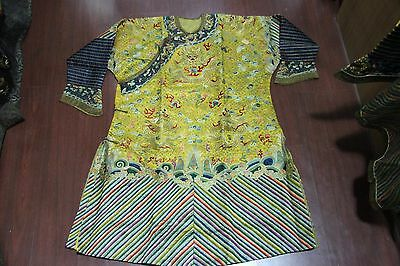 China Dynasty Palace Handwork embroidery silk cloth 9 Dragon Emperor robe Robes