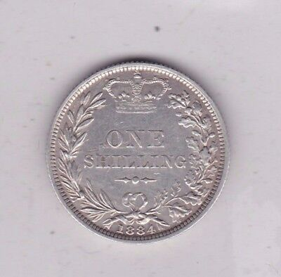 1884 Victorian Young Head Shilling In Good Very Fine Condition