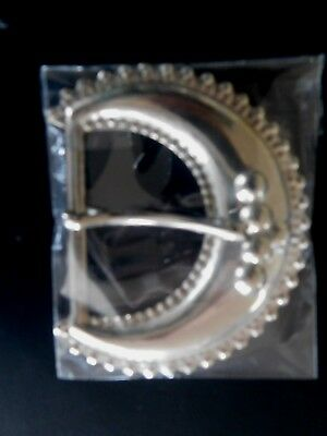 Large VINTAGE Silver Plated HALF MOON 3D Belt Buckle NEW Pressed Metal(00)SA