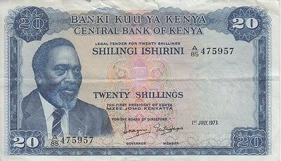KENYA BANKNOTE P8d-5957  20  SHILLINGS  1973 SMALL EDGE TEARS  VF