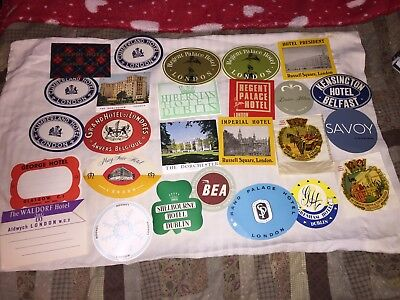 Lot Of 26 Vintage Or Antique International Hotel Luggage Labels Travel Stickers