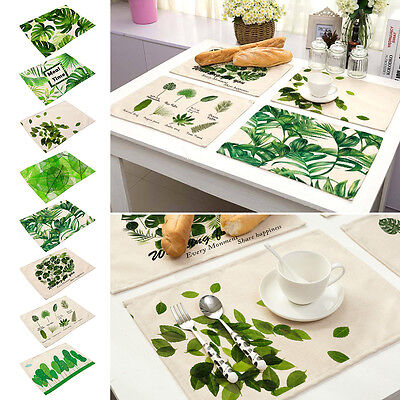 Fresh Ink Green Leaves Insulation Bowl Placemats Dining Pad Western Table Mats