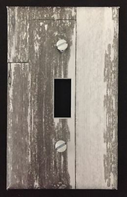 White Planks Light Switch Cover Aged Wooden Planks Vintage Looking Decor