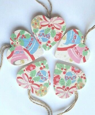 5 Christmas Tree Decoration Vintage Style White Hanging wood hearts Traditional
