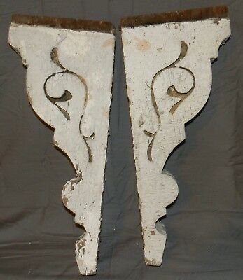 Antique Architectural Chippy White Paint Corbels Wood Salvage Brackets