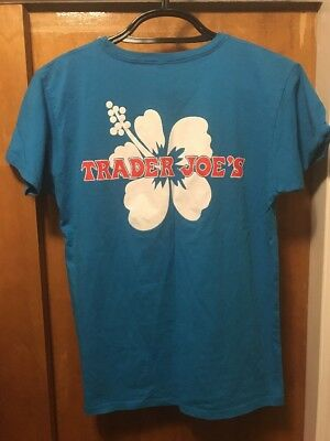 TRADER JOES ~ Women's Large ~ NEW Hibiscus Floral ~ 2 Sided Uniform T Shirt USA