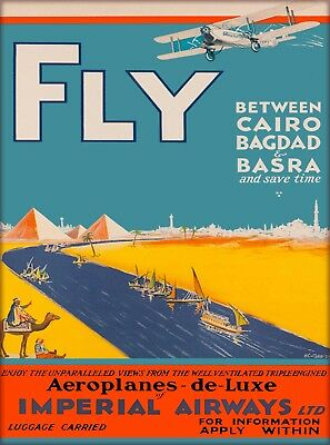 Cairo Bagdad Basra Iraq Egypt  Vintage Airlines Travel Advertisement Art Poster