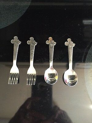 Disney Mickey Mouse Vintage Kids Spoon Fork Set Stainless Steel Japan by Bonny