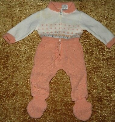 Precious Vintage Baby Togs Girls Footed Knit Longall Coverall One-Piece 12 M Evc