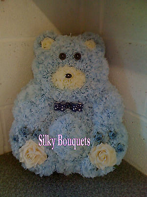 Artificial Silk Funeral Flower Teddy Bear Tribute Wreath Memorial Son Childrens