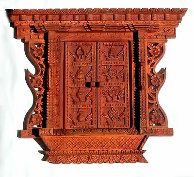 "16"" Ancient Vintage Style 18th Century Nepali Wood carving Frame Wall Decor"