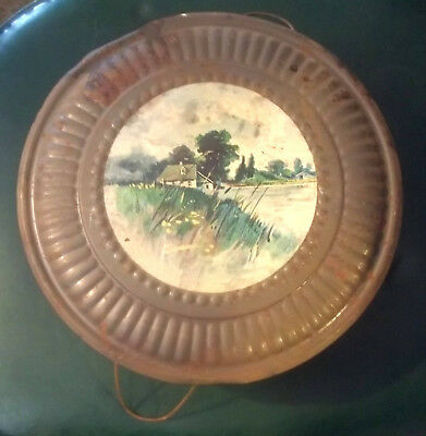 Antique Stove Pipe Flue Cover - Country Scene - With Wire Clip Brackets