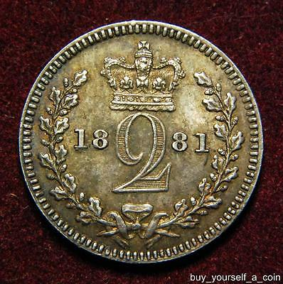 GB Queen Victoria silver maundy 2d twopence 1881