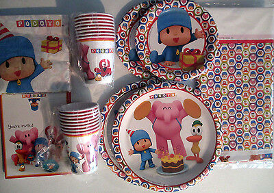 POCOYO - Birthday Party Supply SUPER Kit w/ Invitations & Table Cover