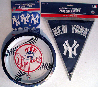 NEW YORK YANKEES Party Supplies Includes Banner, Plates & 6 Balloons !