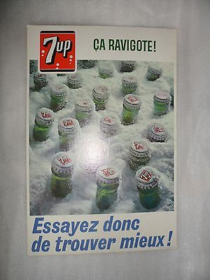 "Vintage 1968 7up Pop Soda Display Poster Ca Ravigote! 7-Up 12"" x 18"" Francais"