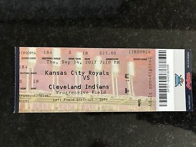 Cleveland Indians 9/14/17 record 22 straight wins used ticket stub.