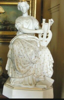 Fab.Sevres Pattern 19th Century Bisque Figure of a Goddess Playing a Lyre