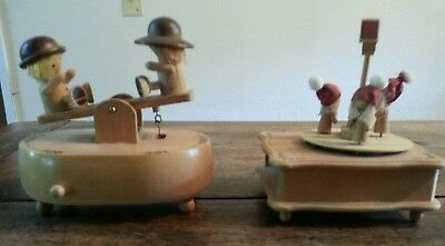 Lot of 2 Cute Pre Owned Vintage Schmid Wood Music Box - Free Shipping!