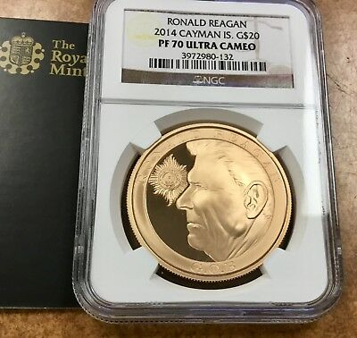 {BJSTAMPS} 2014 Cayman Isl. Ronald Reagan $20 Rose Gold Proof 1.17 oz NGC PF70
