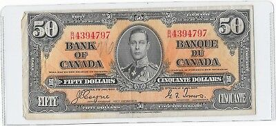 Canada King George VI Bank of Canada Fifty 50 dollar bill paper money RARE !!!