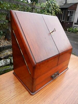 Edwardian Mahogany Locking Flatback Desk Top Stationery/writing Box - Vgc
