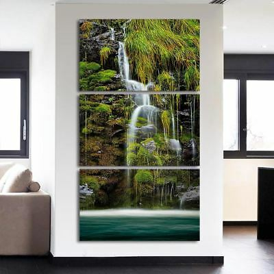 3 piece Modular Wall Art -  Mountain Waterfall Chinese
