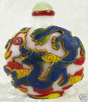 Chinese Peking Glass Snuff Bottle Blue Yellow Red Dragon White Green Stone Top