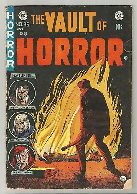 VAULT of HORROR # 36 Burning Body cover by Johnny Craig! Opium addict story!!!
