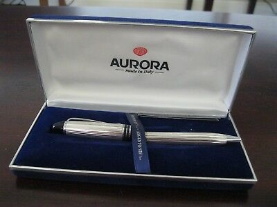 Aurora Ipsilon Sterling Silver Ballpoint Pen NEEDS REPAIR  Box Included  A-204