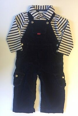 Boys * JoJo Maman Bebe * Navy Dungarees and Vest Outfit - 18-24 months vgc