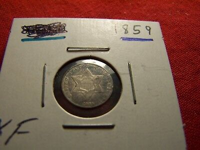 Better Date 1859 3-Cent Silver, High Grade Trime, Lovely Toning
