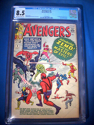 1964 * AVENGERS #6 * Marvel Comics * CGC 8.5 VF+ * WHITE Pages FIRST BARON ZEMO