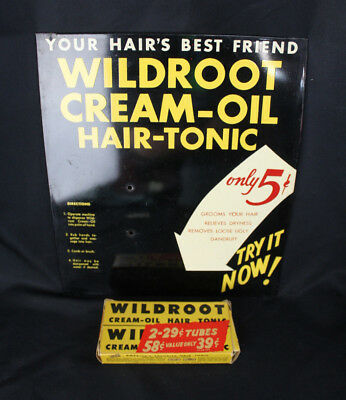 Original Vintage Wildroot Cream Oil Hair Tonic 5¢ Coin Op Tin Sign & NOS Tubes!
