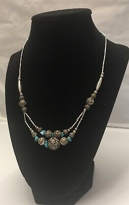 Vintage ZUNI Needle Point Turquoise on Sterling Silver Necklace with COA